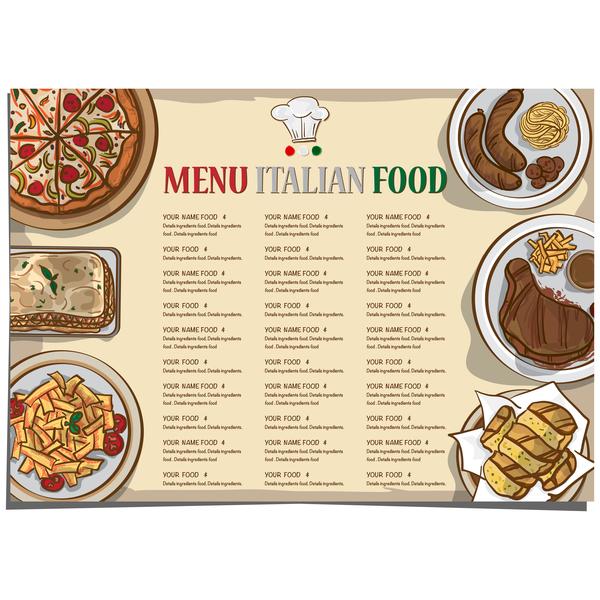 Italian food menu template vector design 08