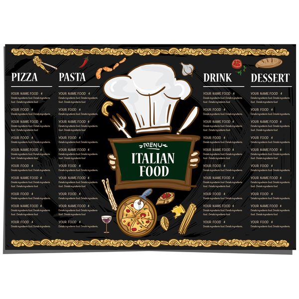 Italian food menu template vector design 09