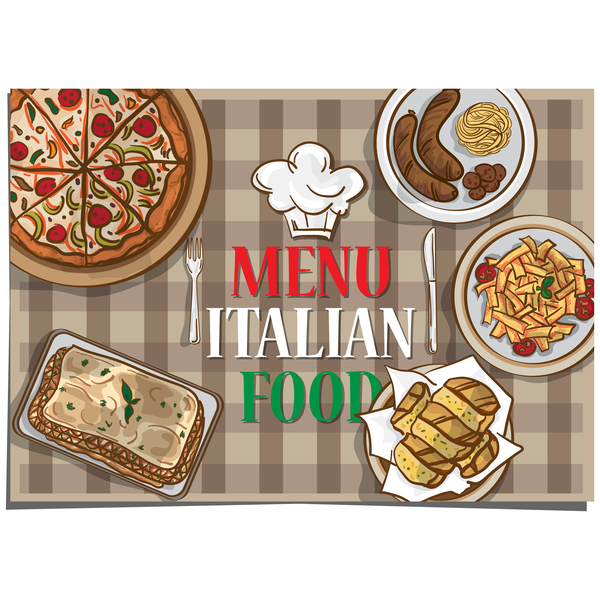 Italian food with dining table vector
