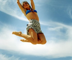 Jumping woman Stock Photo 01