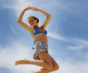 Jumping woman Stock Photo 02