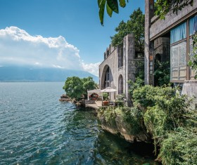 Lake house building Stock Photo