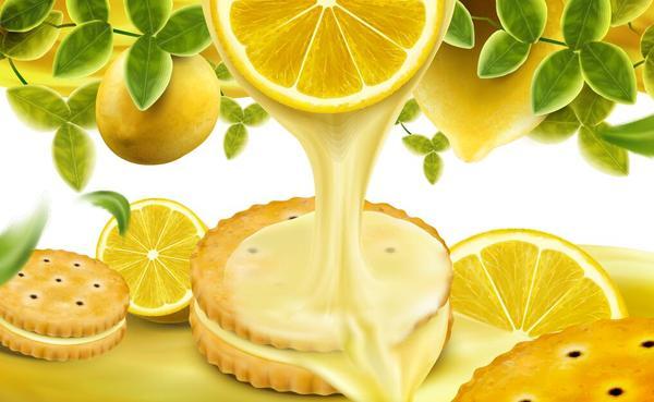 Lemon cookies poster vectors 01