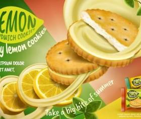 Lemon cookies poster vectors 02