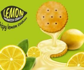Lemon cookies poster vectors 03