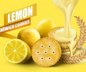 Lemon cookies poster vectors 04
