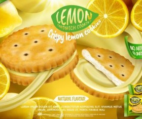 Lemon cookies poster vectors 05