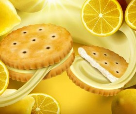 Lemon cookies poster vectors 06