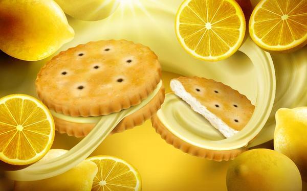 Lemon cookies poster vectors 06