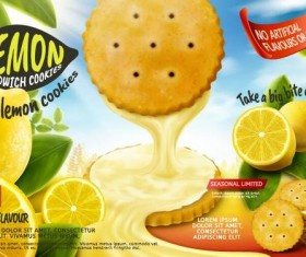 Lemon cookies poster vectors 07