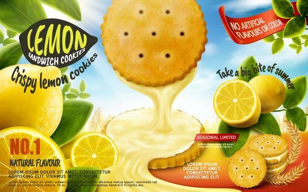 Lemon cookies poster vectors 07