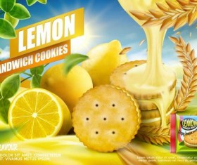 Lemon cookies poster vectors 08
