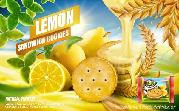 Lemon cookies poster vectors 08