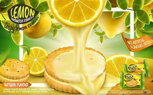 Lemon cookies poster vectors 09