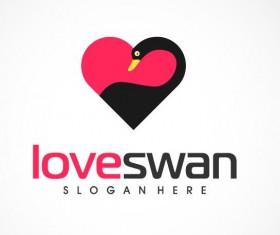 Love swan logo vector