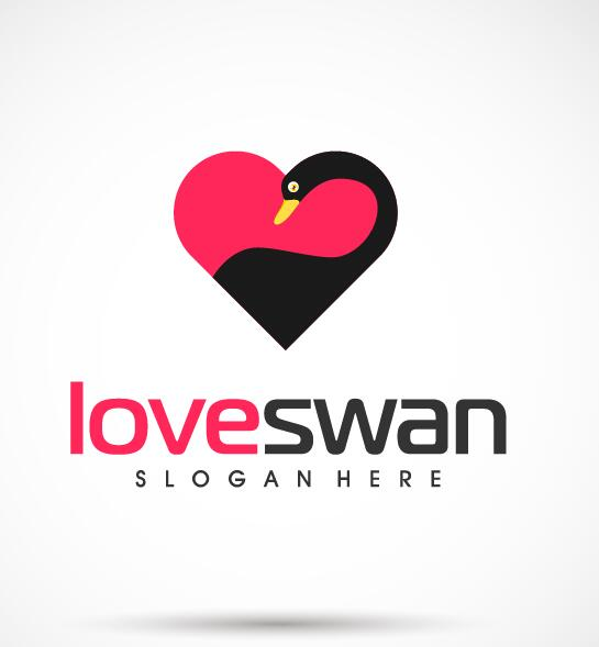 Love swan logo vector