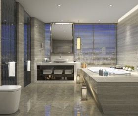 Luxurious tiled decorated with modern classic bathroom Stock Photo 01