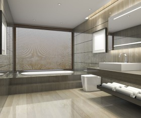 Luxurious tiled decorated with modern classic bathroom Stock Photo 03