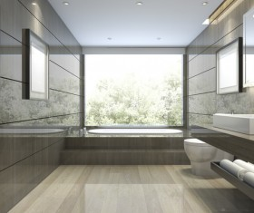 Luxurious tiled decorated with modern classic bathroom Stock Photo 04