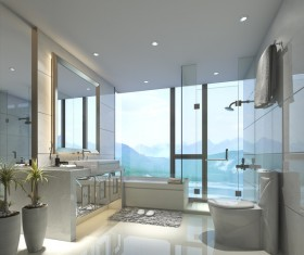 Luxurious tiled decorated with modern classic bathroom Stock Photo 06