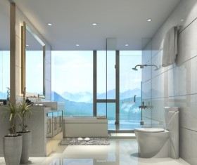 Luxurious tiled decorated with modern classic bathroom Stock Photo 07
