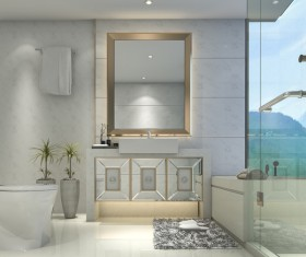 Luxurious tiled decorated with modern classic bathroom Stock Photo 08