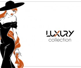 Luxury with beautiful girl background vector 02