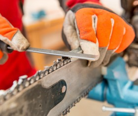 Maintenance electric saw Stock Photo