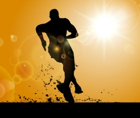Man running silhouette vector material 01