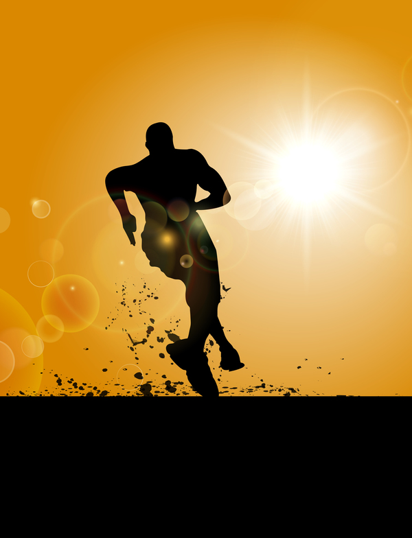Man running silhouette vector material 01