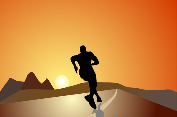 Man running silhouette vector material 02