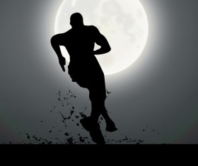 Man running silhouette vector material 03