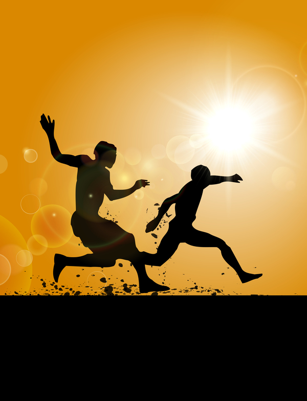 Man running silhouette vector material 04