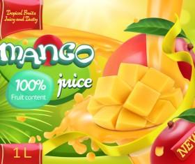 Mango juice poster template vector