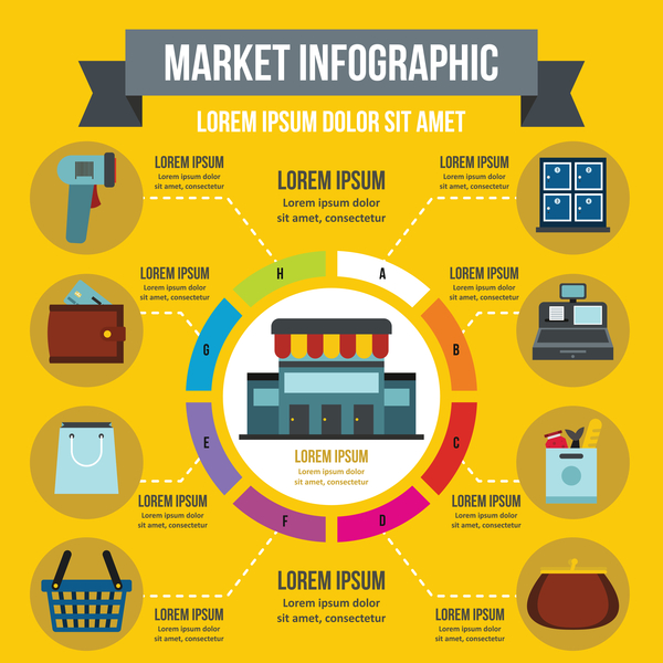 Market infographic design vector