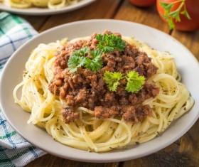Meat sauces pasta Stock Photo