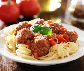 Meatball pasta vegetable leaf embellishment Stock Photo 01