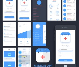 Medical APP user interface template vector