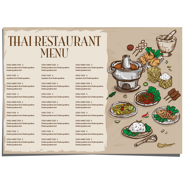 Menu thai food template vector 01