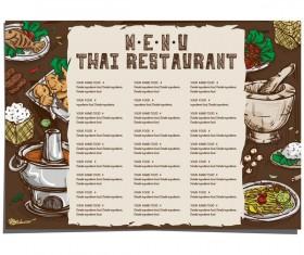 Menu thai food template vector 02