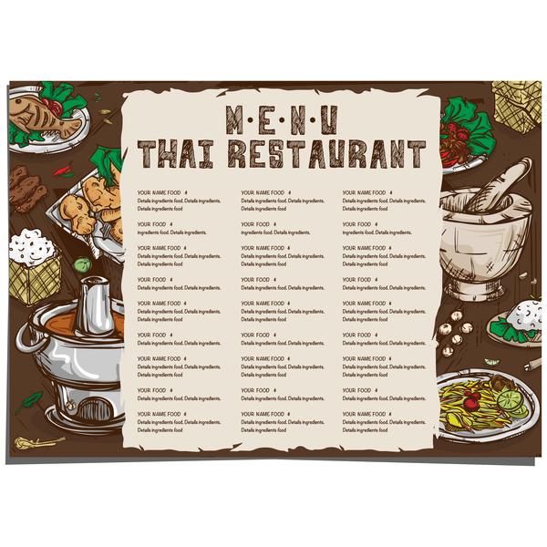 Menu Thai Food Template Vector 02 Free Download