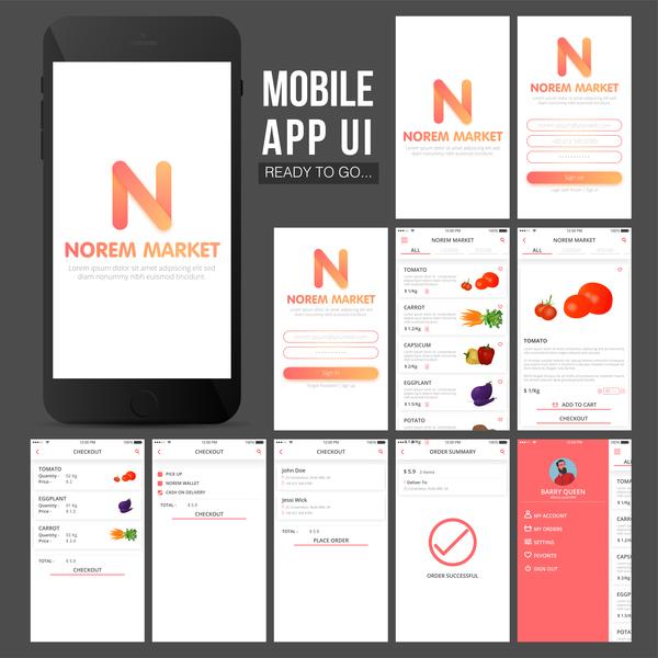 Mobile UI design vector material