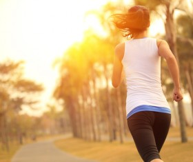 Morning run woman Stock Photo