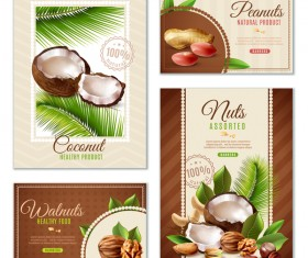 Natural nuts poster banners set vector