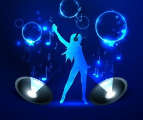 Neon line music background vectors 01