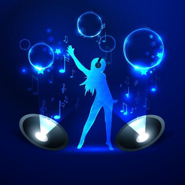 Neon line music background vectors 01