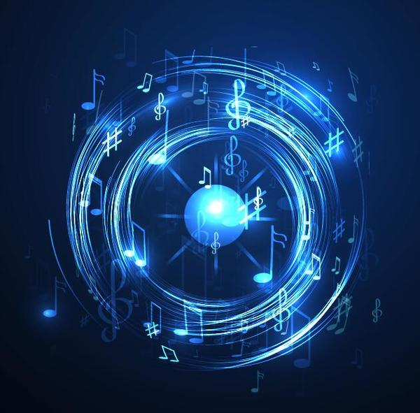 Neon line music background vectors 02