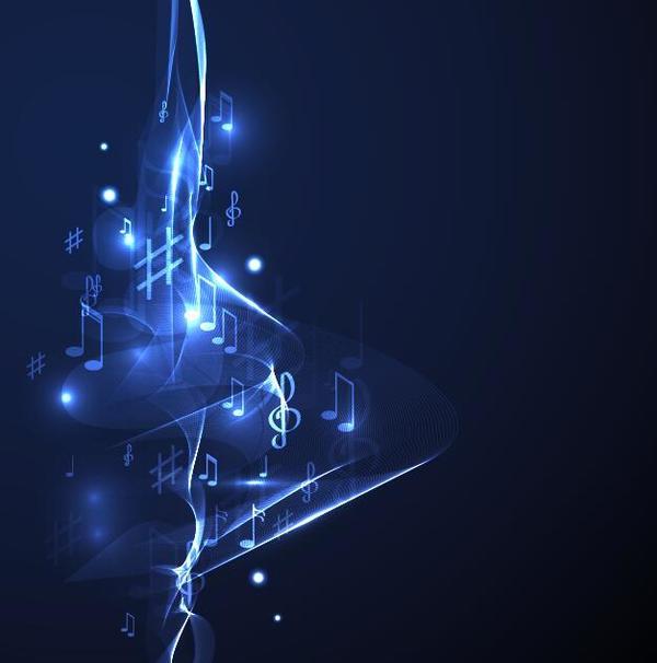 Neon line music background vectors 09