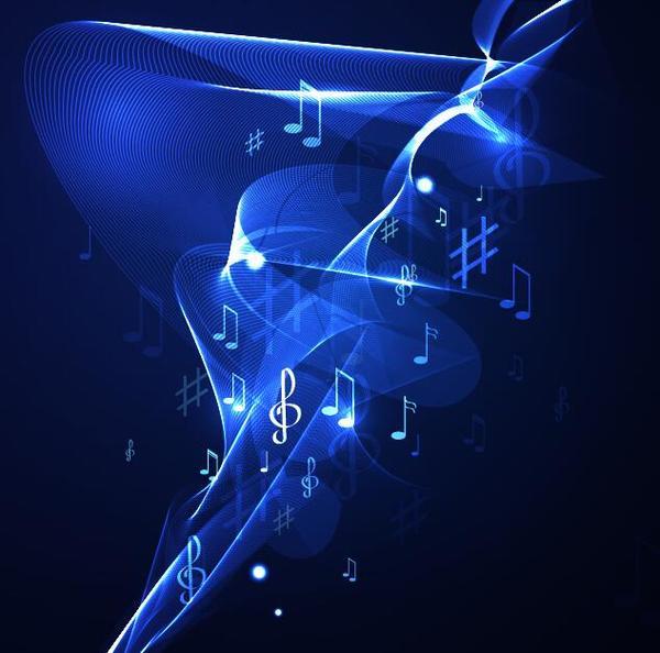 Neon line music background vectors 10
