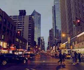 New York City Manhattan Street View Stock Photo